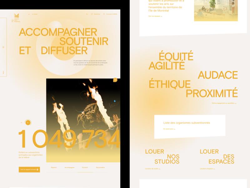 Conseil des arts de Montréal™ · Editorial Page gradient editorial slider design design typo push webdesign interface slider interactive art direction branding typography animation