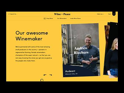 Wine + Peace™ · Slider Winemaker Homepage playful color shop ecommerce wine branding typography slideshow design motion interaction card webdesign interactive animation slider art direction interface