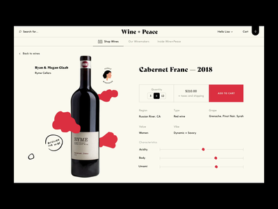 Wine + Peace™ · Wine Page identity button quote footer slider animated immersive product page illustration animation branding shopping ecommerce shop wine webdesign interactive interface art direction typography