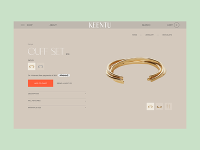 Keentu™ · Product Page mini cart fashion jewelry african africa african woman web design ecommerce shop product page ux ui design typo webdesign interactive branding art direction interface typography