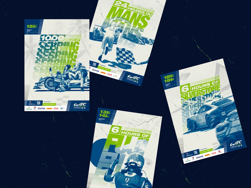 WEC™ ·  Posters poster art poster collection sharp ui design illustration art direction identity font branding typography typo race car affiches poster