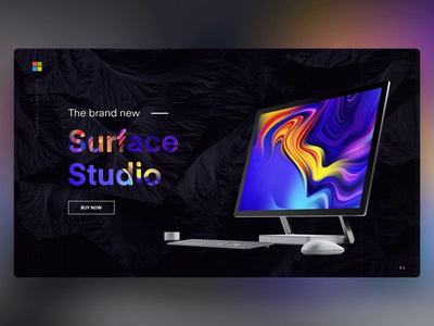 Surface Studio - PowerPoint Slides desktop pc display screen microsoft surface design ui digital animation template slide design slides powerpoint microsoft