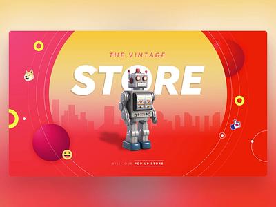 Vintage Store Home - PowerPoint Slides robot store retro design ui animation slide design slides powerpoint microsoft