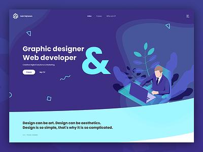 Graphic deisgner & web developer portfolio landing page xd adobe xd illustration graphic  design landing page webdesigner web webdesign