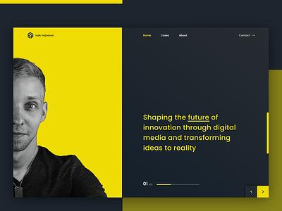Web designer Portfolio landing page graphics designer landing page illustration shapes yellow webdesigner webdesig landing page portfolio graphics design webdesign