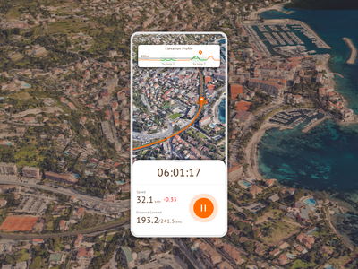Cycling Route Tracker (#dailyui #020) google earth health running cycling navigation location tracker tracker location maps map 3d trending trendy mobile ui design app dailyui