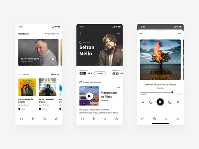 Orelo music player spotify mobile ux interface app mobile app layout ui podcast