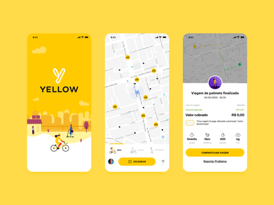 Yellow App - Bike/Scooter Sharing sharing map ui scooter bike ux mobile design identity layout flat ui