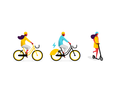 Illustrations - Yellow App illustration art app scooter bike vector flat layout identity design illustration