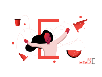 Illustrations - BeMeals App food creative cover illustration mobile concept design identity layout flat ui