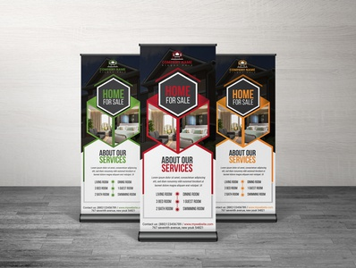 Real State Roll up banner desing template branding advert conference print template bundle business conference business event signage logo ui banner design advertisement bundle template