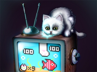 Retrocompatibility cat kitten 8-bit icon television fish aquarium tv videogame