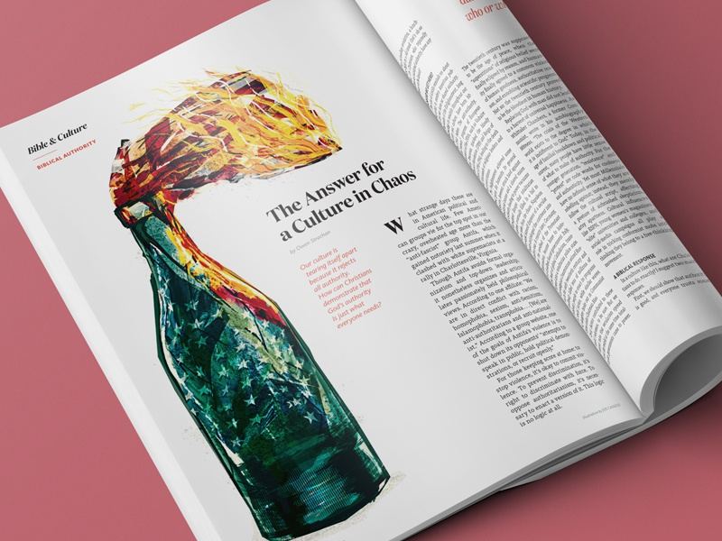 Culture In Chaos magazine editorial bottle flag fire mix illustration