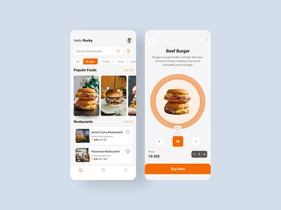 Restaurant App burger app restaurant branding restaurant app food clean mobile app restaurant minimal flat app typography vector branding ui design illustration icon