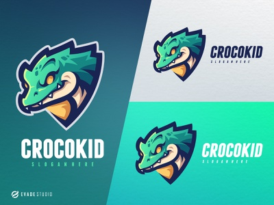 Crocokid crocodille branding animal mascot logo esportlogo design vector mascot illustration esports logo