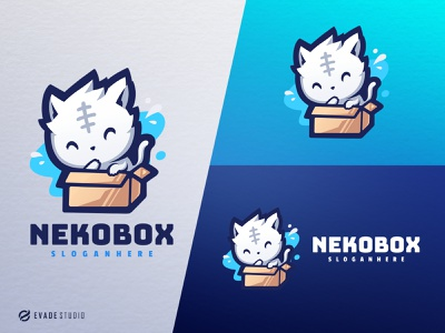 Nekobox esportlogo mascot logo branding design animal cat head brand vector general company illustration esport mascot logo logoesport
