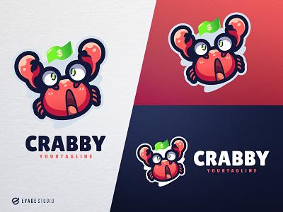 Crabby mascot logo esportlogo character animal crab head brand vector general company illustration esport mascot logo logoesport