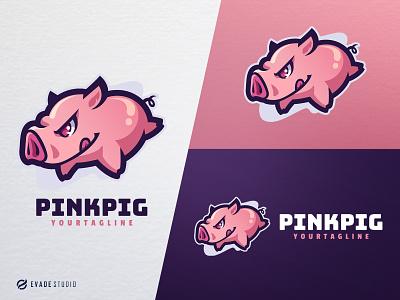 Pink Pig design animal mascot logo esports esportlogo pig head brand vector general company illustration esport mascot logo logoesport