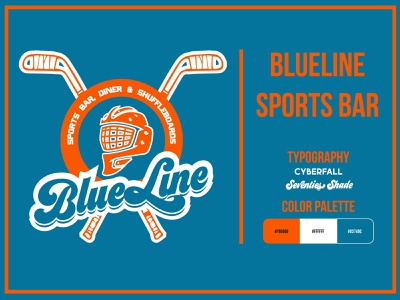 BlueLine Sport Bar fiverr norway diner shuffleboard goalie hockey sportsbar club branding adobe illustrator illustrator creative design vector logo logo design graphic design concept