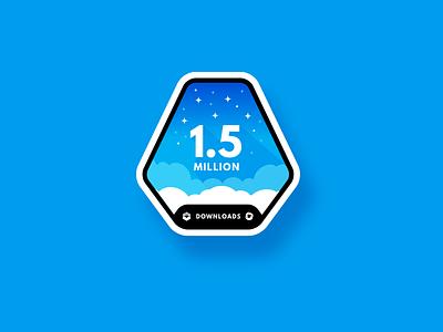 1.5 Million Downloads Sticker Design badge design badge