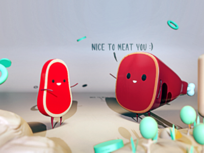 NICE TO MEAT YOU b3d illustration lowpoly graphicdesign creative eevee blender