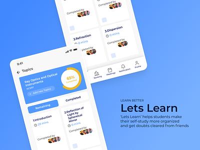 Lets Learn - UI UX  Design lets learn edtech ui design mobile ui mobile app design product design ui uiux minimal
