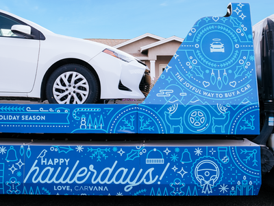 "Carvana ""Haulerdays"" Campaign automotive cars holiday card holidays bezier monoline illustration typography vector design"
