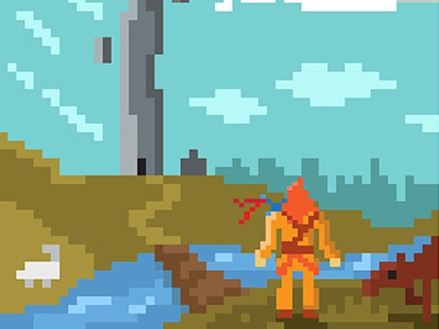 Art for my potential game project game concept fantasy hero tower pixel pixelart modern mobile sword rpg adventure