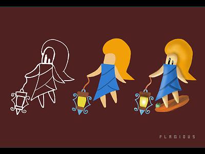 Lantern Girl art digital blonde girl lantern mage character indiedev gamedev gameart game