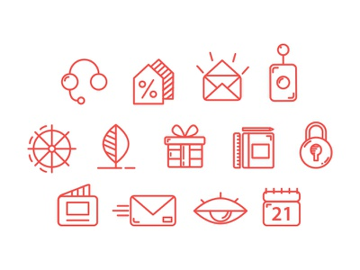 Business Line Icons Set sale control security discount present letter support set line icons icon business