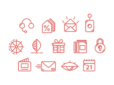 Business Line Icons Set