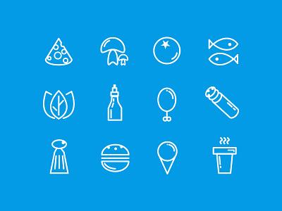 Food line icons set ingridients coffee fish flat vector ui app set icons icon line food