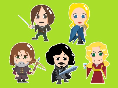 Game of Thrones Characters Stickers john snow game of thrones fanart gameart game art cartoon vector tyrion stickers chatacters fantasy