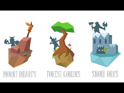 Fantasy Low Poly Creatures pirate orc elf dwarf magic creatures fantasy design vector low poly art