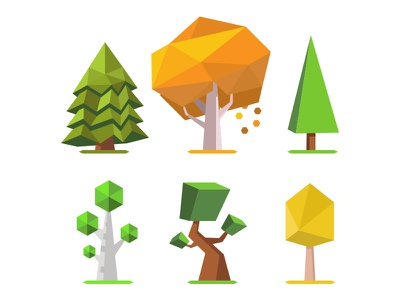 Low Poly Trees 2D assets vector trees low poly art