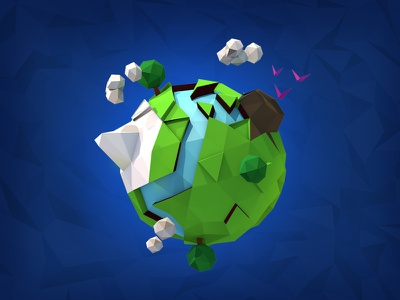 Low Poly Planet 3d game quality universe space green planet design low poly art