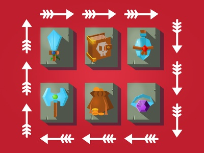 Low Poly Fantasy Game Icons concept game minimalistic ring book sword rpg fantasy design vector low poly art