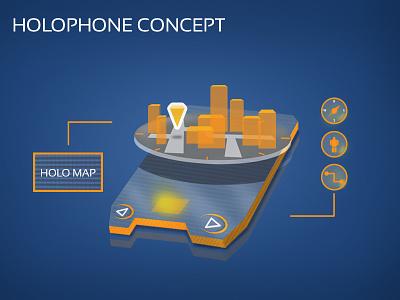 Holophone concept pixel perfect interface ux futuristic phone app material design ui mobile hologram