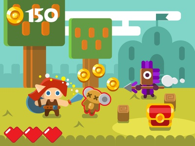Game mockup 01 platformer rpg graphics cute cartoon fantasy style flat mockup gamedev game