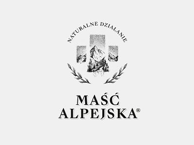 Maść Alpejska logo katowice gliwice silesia mateusz pałka symbol studio retro logo healing logos product logo old logo alpine ointment draw logo
