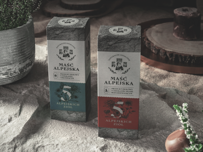 Maść Alpejska - packaging design symbol studio ointment herbs packaging design mountain packaging natural packaging