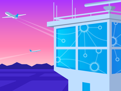 Windows for NPM Editorial Illustration reflection airport illustration tech sunset datadog hero editorial metrics runway flat vector mountains map monitoring tower plane performance network windows