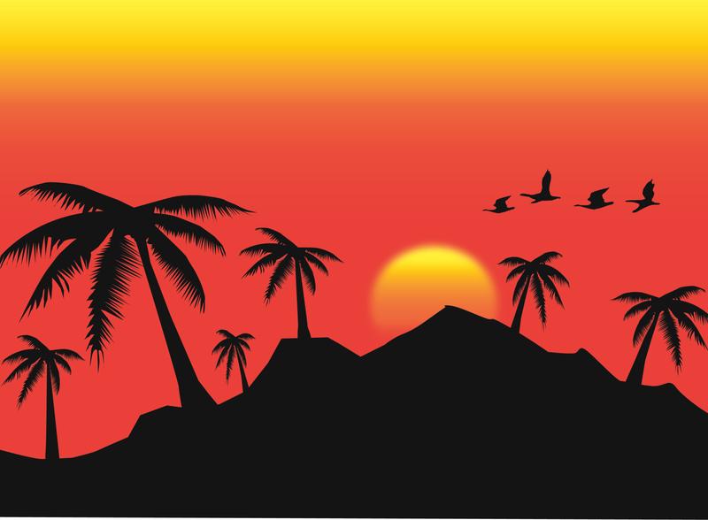 S U N S E T bird tree sun sunset aesthetic icon adobe design art vector illustrator illustration