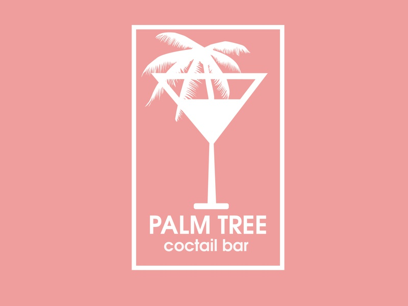 Palm Tree Coctail Bar icon branding ux ui logo adobe design illustration vector illustrator