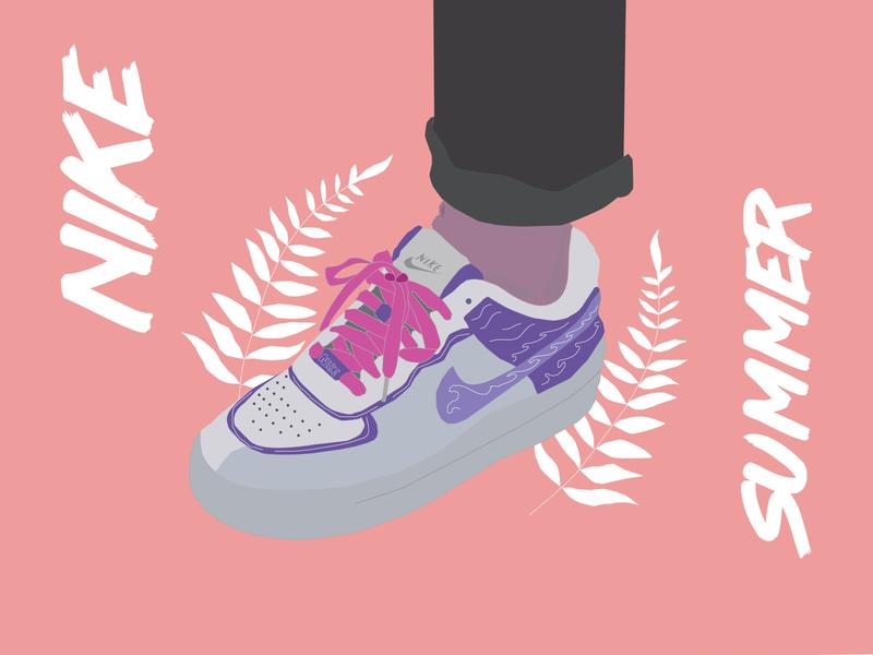 Nike Summer nike air nike logo branding typography animation art adobe illustration vector illustrator