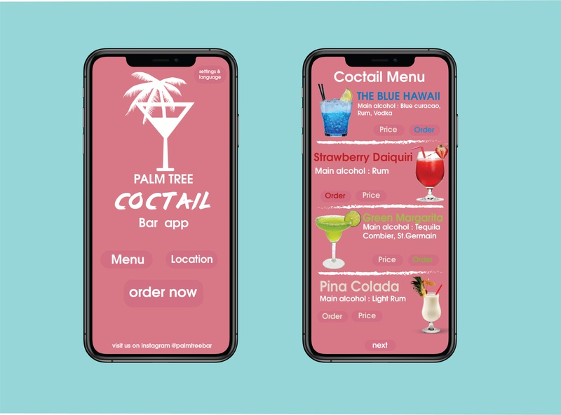 Palm Tree Coctail Menu web app ux ui branding logo typography adobe design vector