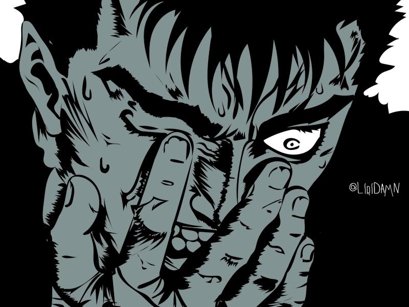 ベルセルク grey white black simple design sketching animeart berserk art adobe illustration typography sketch illustrator vector