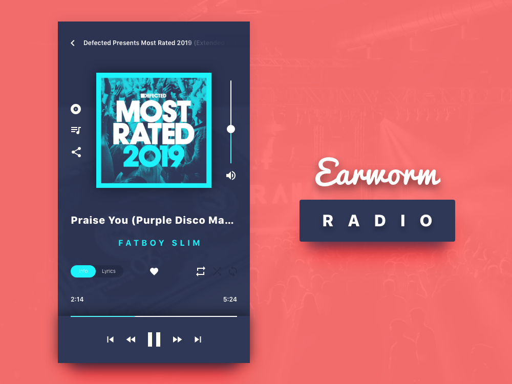 Earworm Radio Fatboy Slim user interface ui player 2019 design streaming now playing music app