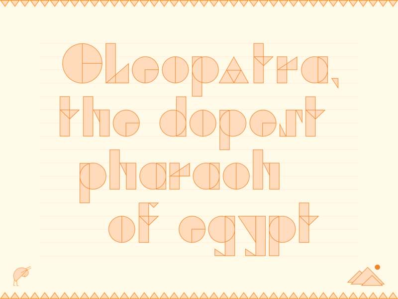 Pharaohs letterform thing orange queen pharaoh cleopatra pyramid peach rectangle square triangle circle egypt rebound letterform