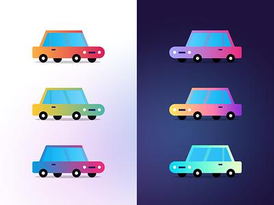 Vehicles gradient illustrations electricity ui sedan vehicles car gradient icon gradient color gradients gradient colorful cars vehicle illustration